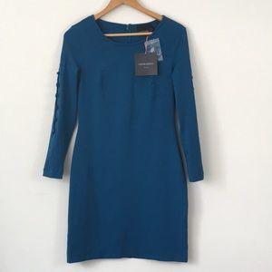 Cynthia Rowley Sheath Dress Teal Long Sleeve